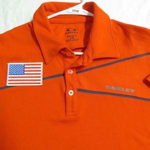 Sz L Orange Striped Usa OAKLEY MEN db #08W Polo